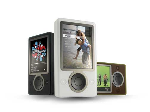 Zune black, brown, white